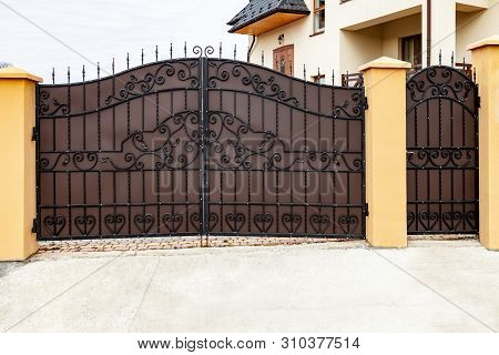 New Forged Metal Double Gates For Entry Of Cars Into The Yard And Wicket