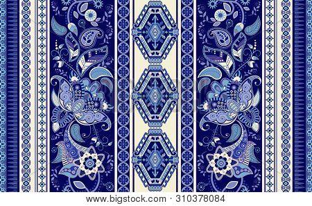 Colorful Ornamental Vector Design For Rug, Carpet, Tapis, Shawl. Seamless Ornamental Pattern. Geomet
