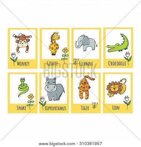 Cute Children Tropical Educational Flashcards With Safari Animals.