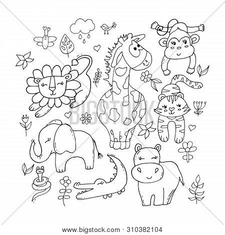 Cute Tropical Animals Set In Black And White Isolated On White Background.