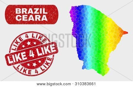 Spectrum Dot Ceara State Map And Seal Stamps. Red Round Like 4 Like Distress Seal Stamp. Gradiented
