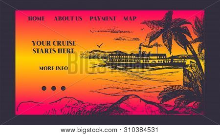 Cruise Ship For Summer Travel Vector Illustration. Seaway Cruiseliner In Sea Near Palm Beach. Illust