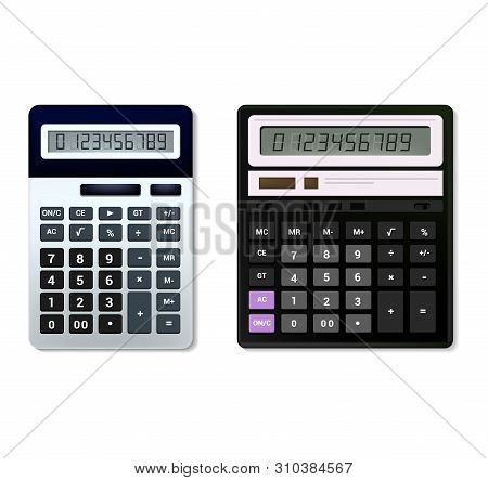 Calculator Vector Business Accounting Calculation Technology Calculating Finance Illustration Set Of