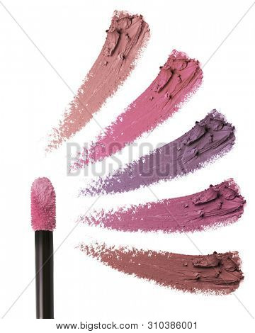 Smears of lipstick. Cosmetic smears of liquid. Collection of smears of lipstick. Isolated on white background