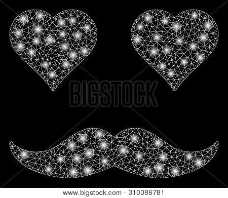 Glowing Mesh Lover Smiley With Sparkle Effect. Abstract Illuminated Model Of Lover Smiley Icon. Shin