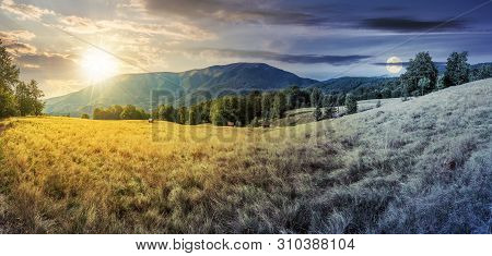Day And Night Time Change In Mountains. Panorama With Beech Trees On The Grassy Meadow. Ridge In The