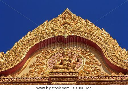 roof temple on the blue sky background