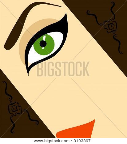 Half-face Woman Vector Illustration