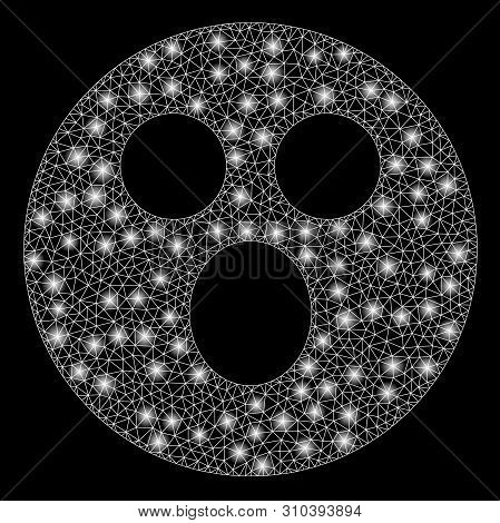 Glossy Mesh Surprized Smiley With Lightspot Effect. Abstract Illuminated Model Of Surprized Smiley I