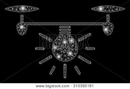 Glowing Mesh Copter Illumination With Lightspot Effect. Abstract Illuminated Model Of Copter Illumin