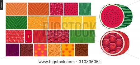 Food Patterns - Vegetable And Fruit, Flat Vector Illustrated Seamless Patterns -salmon, Watermelon,