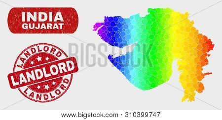 Spectral Dotted Gujarat State Map And Stamps. Red Round Landlord Scratched Seal Stamp. Gradient Rain