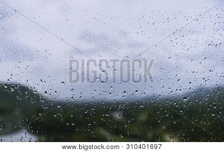 Rain Drop On Glass Blur Nature Background