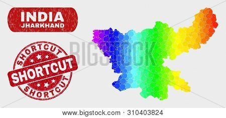 Rainbow Colored Dot Jharkhand State Map And Seal Stamps. Red Rounded Shortcut Textured Seal Stamp. G