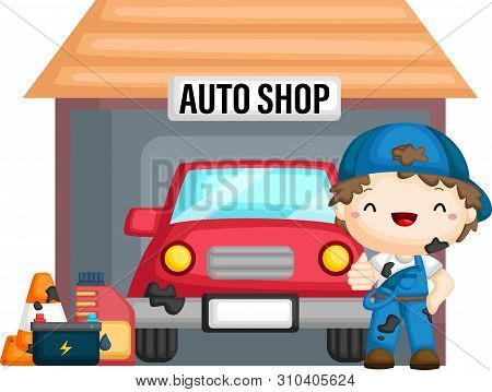 A Vector Of A Car In The Auto Shop With A Mechanic