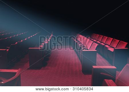 Empty Theater Auditorium Or Vintage Cinema With Red Seats With No People, Old Movie Theater