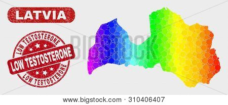 Spectrum Dot Latvia Map And Watermarks. Red Round Low Testosterone Grunge Seal Stamp. Gradient Spect