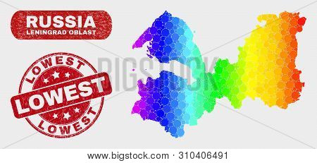Spectral Dotted Leningrad Region Map And Seal Stamps. Red Rounded Lowest Distress Seal Stamp. Gradie