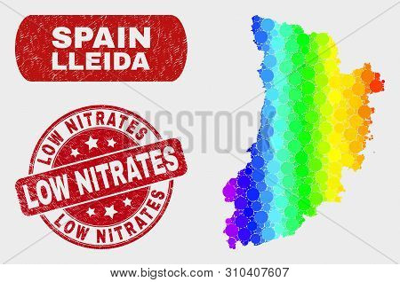 Rainbow Colored Dotted Lleida Province Map And Watermarks. Red Round Low Nitrates Grunge Seal Stamp.