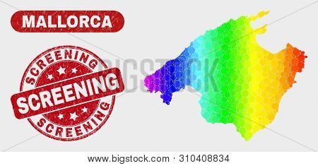 Rainbow Colored Dotted Mallorca Map And Watermarks. Red Rounded Screening Scratched Seal Stamp. Grad