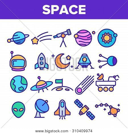 Space Exploration Vector Thin Line Icons Set. Outer Space, Extraterrestrial Life Linear Pictograms.