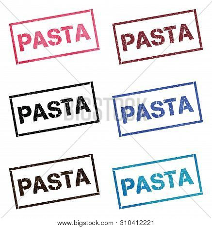 Pasta Rectangular Stamp Collection. Textured Seals With Text Isolated On White Backgound. Stamps In