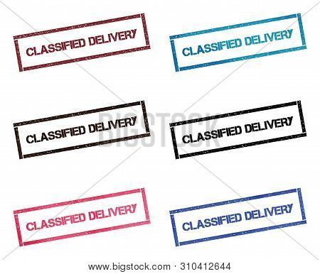 Classified Delivery Rectangular Stamp Collection. Textured Seals With Text Isolated On White Backgou