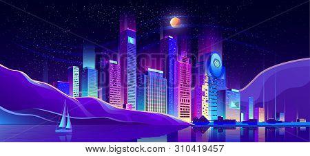 Future Metropolis Business District, Resort City Downtown Cartoon Vector. Illuminating Neon Lights,