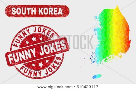 Spectral Dot South Korea Map And Seals. Red Rounded Funny Jokes Distress Seal Stamp. Gradiented Spec