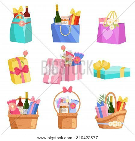 Holiday Presents Set, Paper Shopping Bags, Baskets And Boxes Full Of Gifts, Design Elements For Birt
