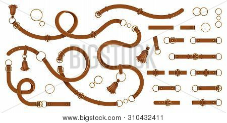 Set Of Isolated Leather Man Belt With Metallic Rings Or Lethern Woman Waistband With Metal Ring Clas