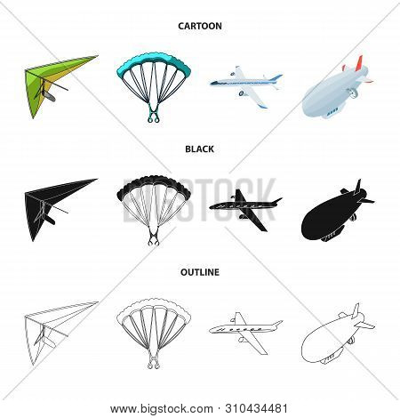 Vector Design Of Transport And Object Symbol. Collection Of Transport And Gliding Stock Vector Illus