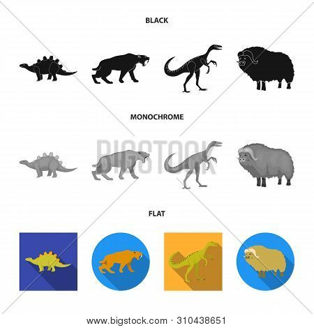 Vector Illustration Of Animal And Character Symbol. Set Of Animal And Ancient Vector Icon For Stock.