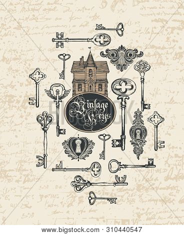 Vector Banner With Vintage Keys, Keyholes, Old House And Gothic Lettering In Retro Style. Hand-drawn