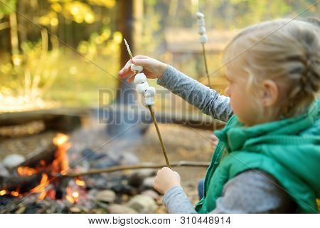 Adorable Young Girl Roasting Marshmallows On Stick At Bonfire. Child Having Fun At Camp Fire. Campin