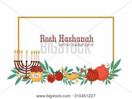 Rosh Hashanah Horizontal Banner Or Background Decorated By Menorah, Shofar Horn, Honey, Apples, Pome