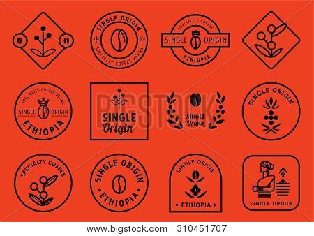 Single Origin Badge Design Set With Coffee Fruits, Leaf,crown,beans And Local Farmer Vector Illustra