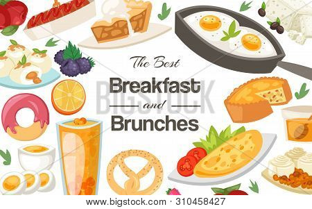 Breakfast And Brunches Concept Banner Vector Illustration. Healty Breakfast Of Fried, Boiled And Scr