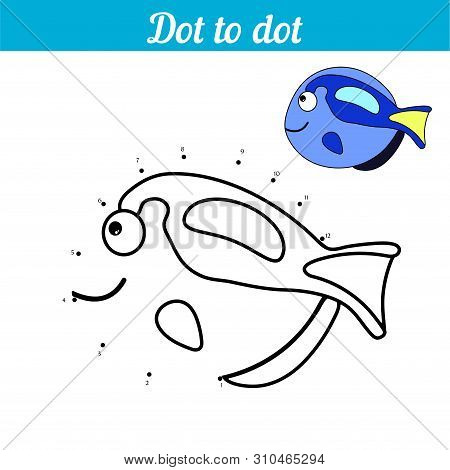 Dot To Dot. Blue Fish. Connect Dots And Color The Picture. Kid Game Find Hidden Personage. Page To B