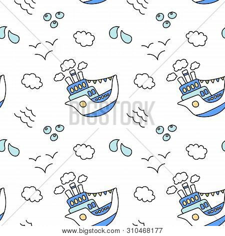 Cute Ship And Cloud Seamless Pattern On White Background. Blue And White Nautical Print. Marine Trav