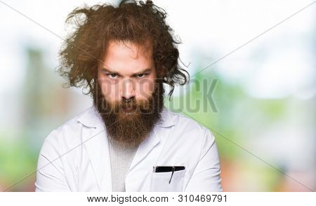 Crazy scientist with funny long hair skeptic and nervous, disapproving expression on face with crossed arms. Negative person. poster