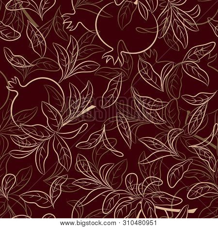Seamless Nature Background With Pictogram Pomegranates Fruits And Leaves On Brown. Vector
