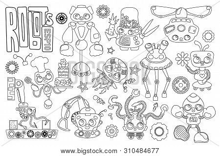 Cute Robot Characters Black And White Vector Set On White Background. Robot Coloring Page. Artificia