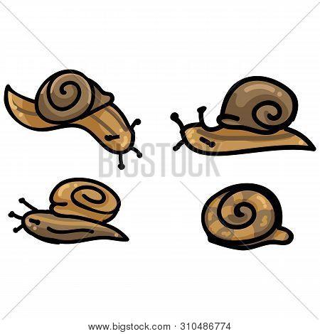 Cute Four Snail Cartoon Vector Illustration Motif Set. Hand Drawn Isolated Garden Creepy Crawlie Ele
