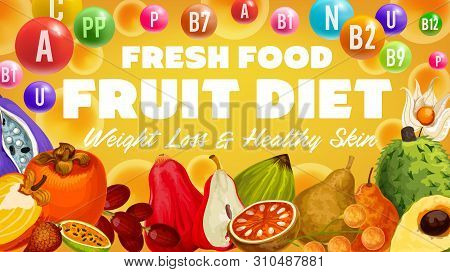 Exotic Fruit Vitamins And Tropical Berry Diet, Healthy Skin And Weight Loss Health Benefits. Vector