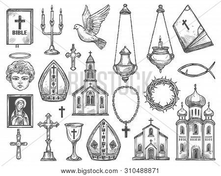 Christian Religion Symbols And Church Supplies Sketches. Vector Catholic Temples, Bible And God Icon