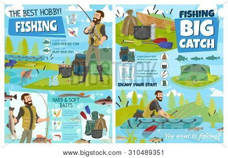 Fishing Sport Equipment, Fisherman Baits And Tackle Vector Design. Fisher Or Angler With Fishing Rod