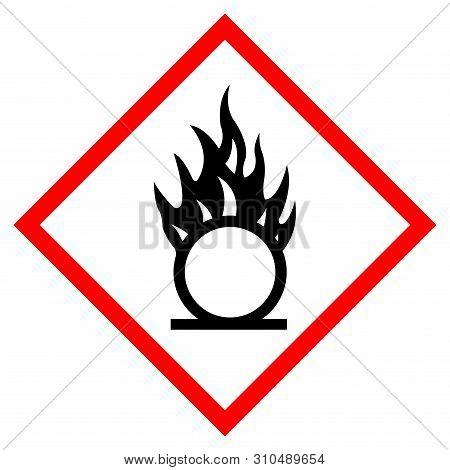 Oxidizer Hazard Symbol Sign, Vector Illustration, Isolate On White Background, Label .eps10