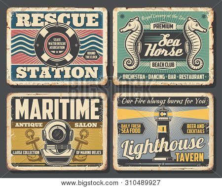 Nautical Vector Design Of Rusty Signboards With Sea Ship Or Boat Anchors, Ocean Waves And Marine Rop