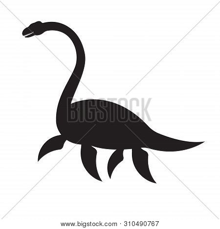 Vector Black Silhouette Of Palaeosaurus Loch Ness Dinosaur Isolated On White Background